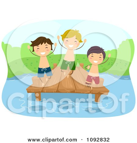 Clipart Happer Summer Camp Boys Jumping Off Of A Dock - Royalty Free Vector Illustration by BNP Design Studio