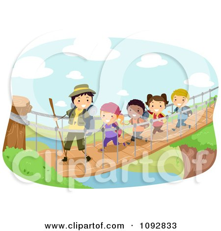 Clipart Summer Camp Group Crossing A Foot Bridge Over A River - Royalty Free Vector Illustration by BNP Design Studio