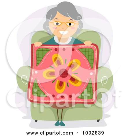 Clipart Senior Woman Holding Up A Floral Quilt - Royalty Free Vector Illustration by BNP Design Studio