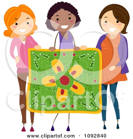 Three Women Holding Up A Floral Quilt Posters, Art Prints