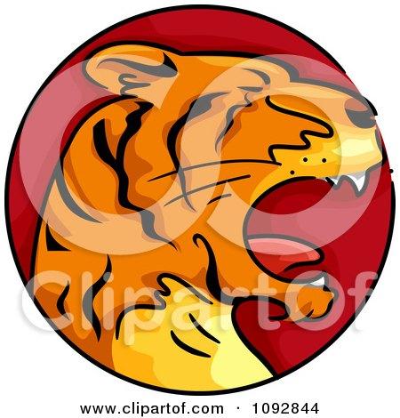 Clipart tiger chinese zodiac circle royalty free vector illustration
