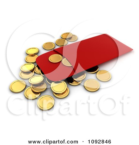 Clipart 3d Golden Chinese New Year Coins And A Red Envelope - Royalty Free CGI Illustration by BNP Design Studio