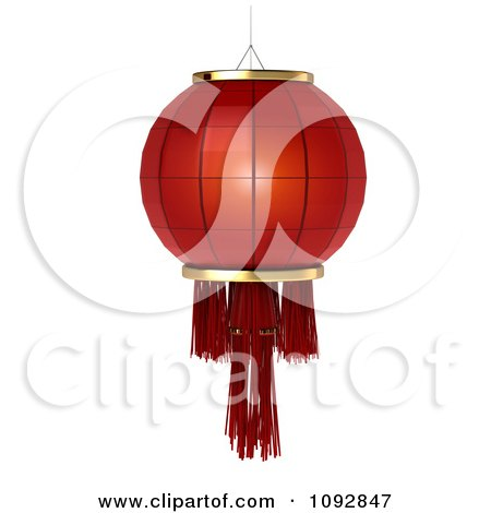 Clipart 3d Red Chinese Festival Lantern - Royalty Free CGI Illustration by BNP Design Studio