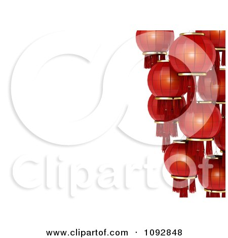 Clipart Border Of Red 3d Chinese Lanterns - Royalty Free CGI Illustration by BNP Design Studio