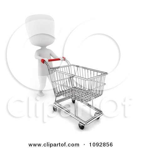 Clipart 3d Ivory Person Pussing An Empty Shopping Cart - Royalty Free CGI Illustration by BNP Design Studio
