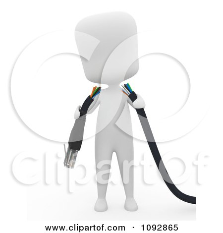 Clipart 3d Ivory Person Holding A Broken Ethernet Cable - Royalty Free CGI Illustration by BNP Design Studio