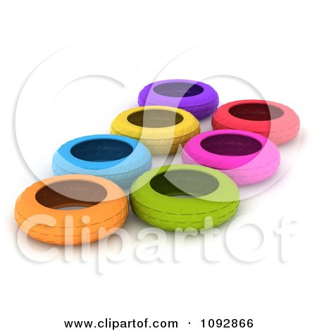 Clipart 3d Colorful Tires In An Obstacle Course - Royalty Free CGI Illustration by BNP Design Studio