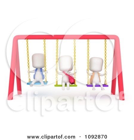 Clipart 3d Ivory Kids Playing On Swings - Royalty Free CGI Illustration by BNP Design Studio