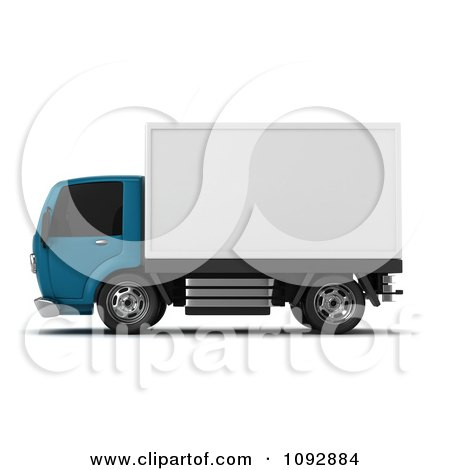 Clipart 3d Blue And White Delivery Truck 2 - Royalty Free CGI Illustration by BNP Design Studio
