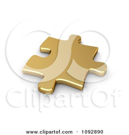 Clipart 3d Golden Jigsaw Puzzle Piece