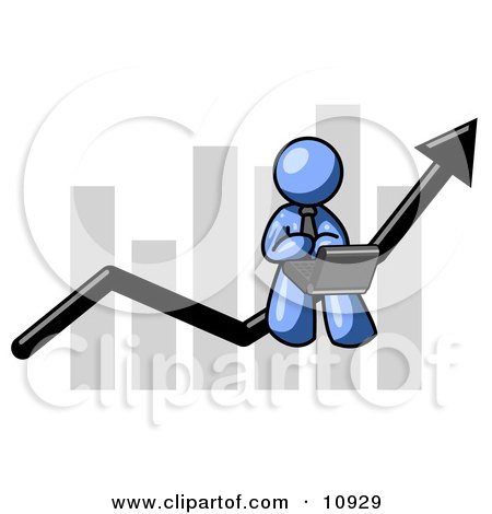 Blue Man Using a Laptop Computer, Riding the Increasing Arrow Line on a Business Chart Graph Clipart Illustration by Leo Blanchette