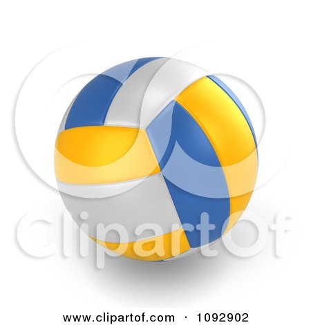 Clipart 3d White Blue And Yellow Volleyball - Royalty Free CGI Illustration by BNP Design Studio
