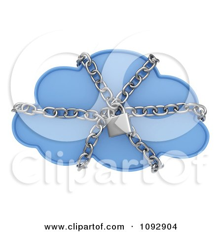 Clipart 3d Secure Data Cloud With Chains - Royalty Free CGI Illustration by BNP Design Studio