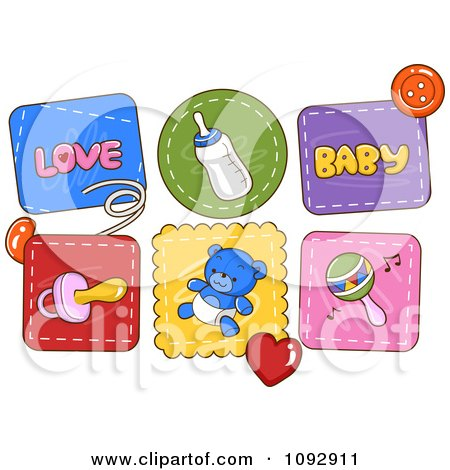 Clipart Baby Patch Icons - Royalty Free Vector Illustration by BNP Design Studio