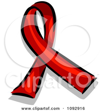 Clipart Red Aids Awareness Ribbon - Royalty Free Vector Illustration by BNP Design Studio