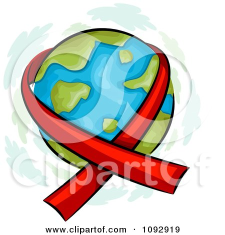 Clipart Red Aids Awareness Ribbon Around Earth - Royalty Free Vector Illustration by BNP Design Studio