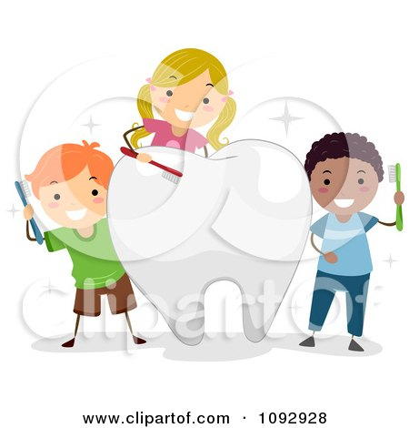 Clipart Happy Kids Brushing A Big Tooth - Royalty Free Vector Illustration by BNP Design Studio