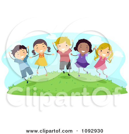 Clipart Happy Kids Jumping Outside - Royalty Free Vector Illustration by BNP Design Studio