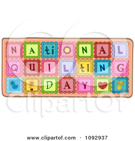 Patches Spelling National Quilting Day Posters, Art Prints