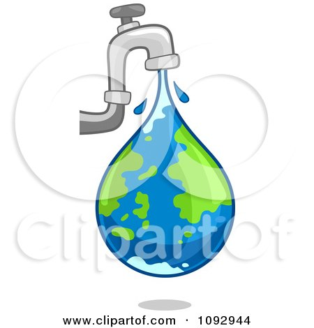 Clipart Faucet Leaking An Earth Water Droplet - Royalty Free Vector Illustration by BNP Design Studio
