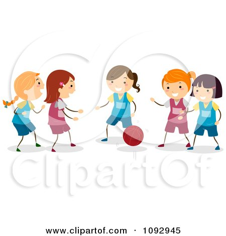 Clipart Happy Girls Playing Basketball - Royalty Free Vector Illustration by BNP Design Studio