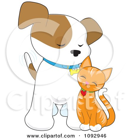 Clipart Cute Ginger Cat Rubbing Against A Puppy - Royalty Free Vector Illustration by Maria Bell