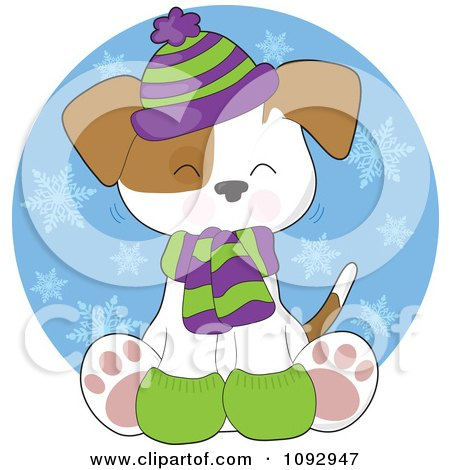 Clipart Cute Winter Pupy Wearing Warm Accessories Over A Snow Circle - Royalty Free Vector Illustration by Maria Bell