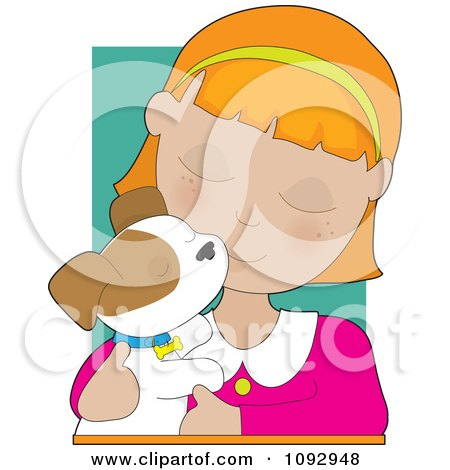 Clipart Girl Cuddling With Her Puppy - Royalty Free Vector Illustration by Maria Bell