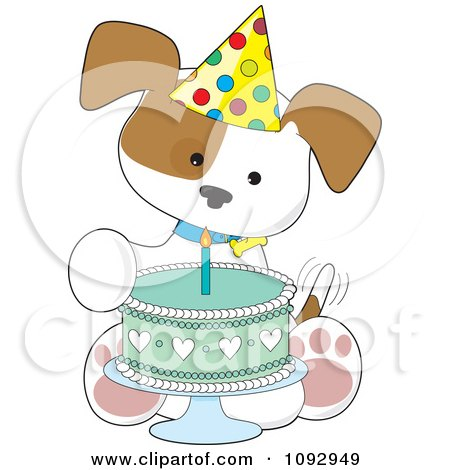 Clipart Cute Birthday Puppy With A Party Hat And Cake - Royalty Free Vector Illustration by Maria Bell