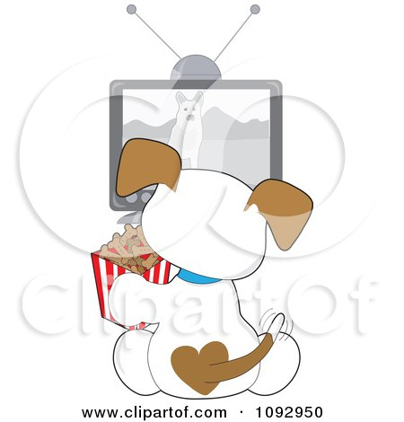 Clipart Cute Puppy Eating Doggy Biscuits And Watching A Dog Tv Show - Royalty Free Vector Illustration by Maria Bell