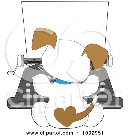 Cute Puppy Seen From Behind Using A Typewriter Posters, Art Prints