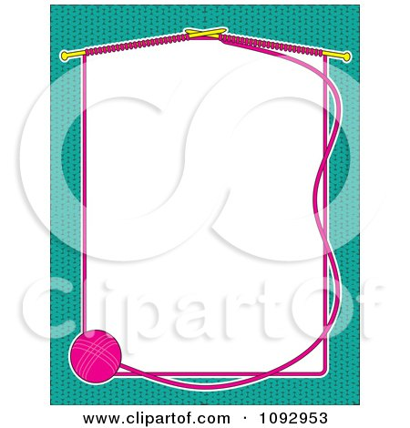 Clipart Ball Of Yarn And Knitting Needles Forming A Frame Of White Copyspace Over A Turquoise Background - Royalty Free Vector Illustration by Maria Bell