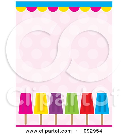 Clipart Border Of Colorful Popsicles Over Polka Dots - Royalty Free Vector Illustration by Maria Bell