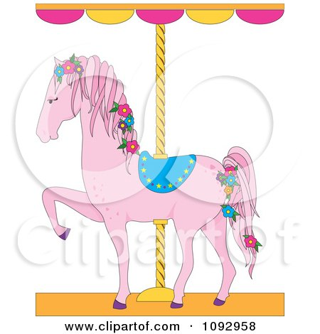 Clipart Pink Carousel Horse With Flowers - Royalty Free Vector Illustration by Maria Bell