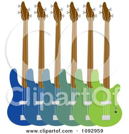Clipart Line Up Of Blue And Green Base Guitars - Royalty Free Vector Illustration by Maria Bell