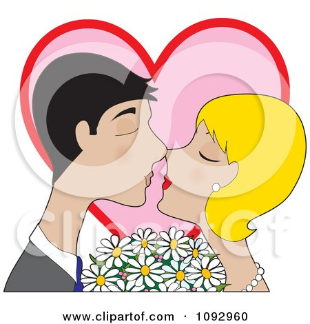 Clipart Valentine Couple Kissing With Daisies And A Heart - Royalty Free Vector Illustration by Maria Bell