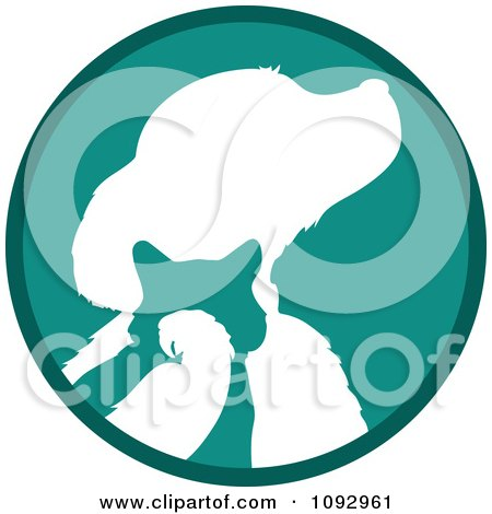 Clipart Turquoise And White Silhouetted Parrot Cat And Dog Logo - Royalty Free Vector Illustration by Maria Bell
