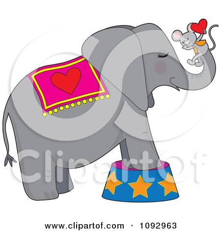 Clipart Circus Elephant With A Mouse Holding A Heart On His Trunk - Royalty Free Vector Illustration by Maria Bell