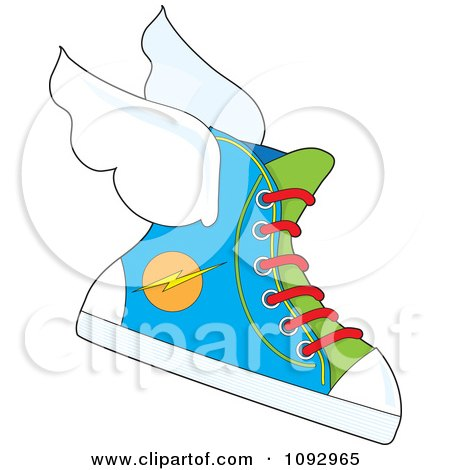 Clipart Flying Sneaker With A Lightning Bolt Icon - Royalty Free Vector Illustration by Maria Bell