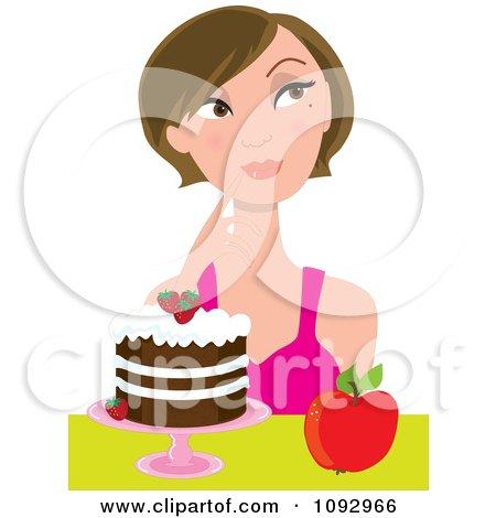 Clipart Woman Trying To Decide On Eating An Apple Or Cake - Royalty Free Vector Illustration by Maria Bell