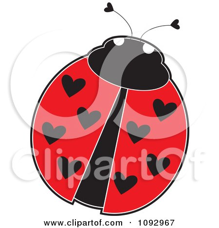 Clipart Ladybug With Heart Spots On Its Wings - Royalty Free Vector Illustration by Maria Bell