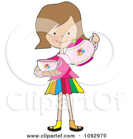 Clipart Little Girl Serving Tea And Cookies - Royalty Free Vector Illustration by Maria Bell