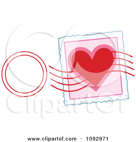 Clipart Valentine Heart Stamp And Post Mark - Royalty Free Vector Illustration by Maria Bell