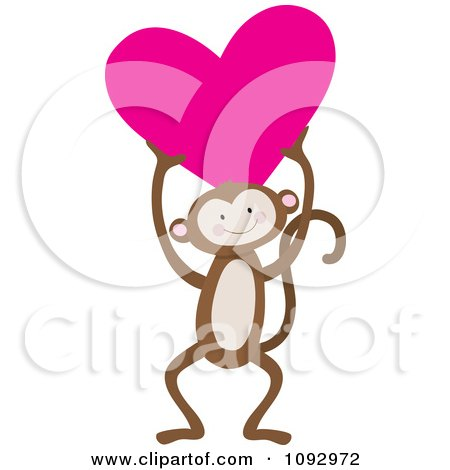 Cute Monkey Holding A Heart Posters, Art Prints