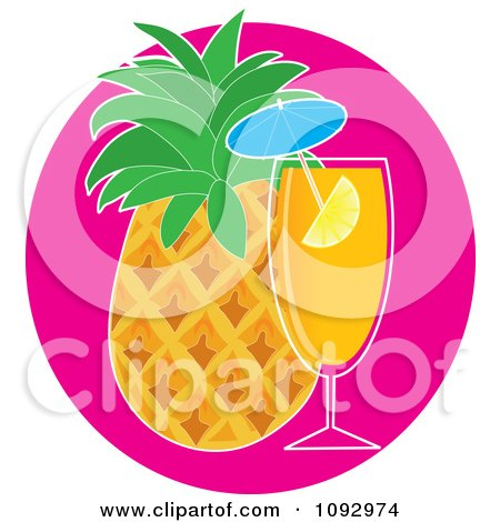 Clipart Tropical Cocktail And Pineapple - Royalty Free Vector Illustration by Maria Bell