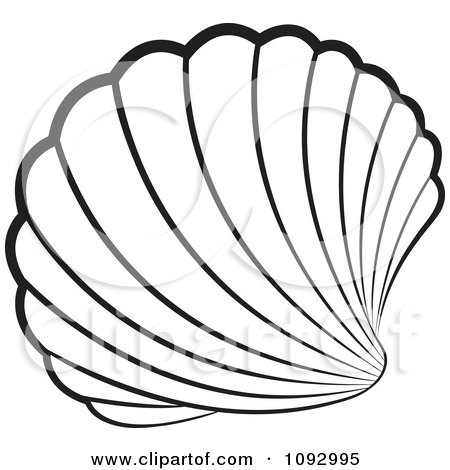 clipart black and white scallop sea shell - royalty free vector