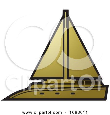 Clipart Gold Yacht Sailboat - Royalty Free Vector Illustration by Lal Perera