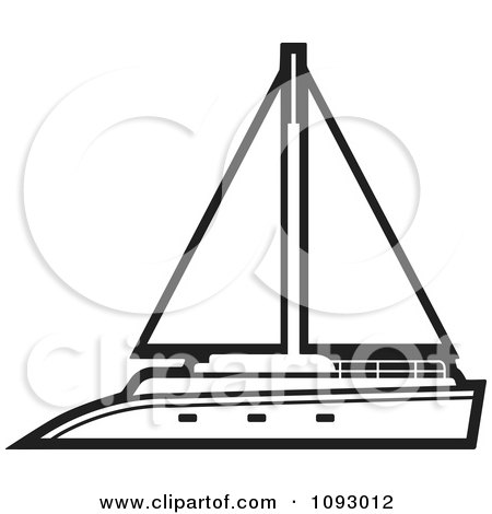 Clipart Outlined Yacht Sailboat - Royalty Free Vector Illustration by Lal Perera