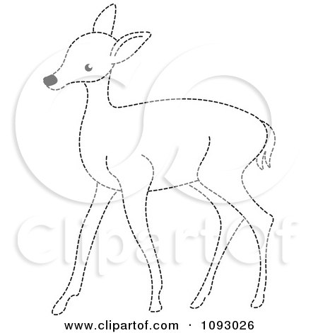 Clipart Black And White Dotted Line Deer - Royalty Free Vector Illustration by Lal Perera