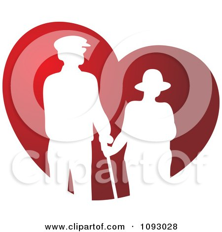 White Silhouetted Senior Couple Over A Red Heart Posters, Art Prints